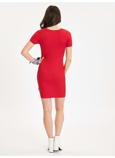 LC Waikiki Kısa Kollu Dar Triko Elbise Kırmızı